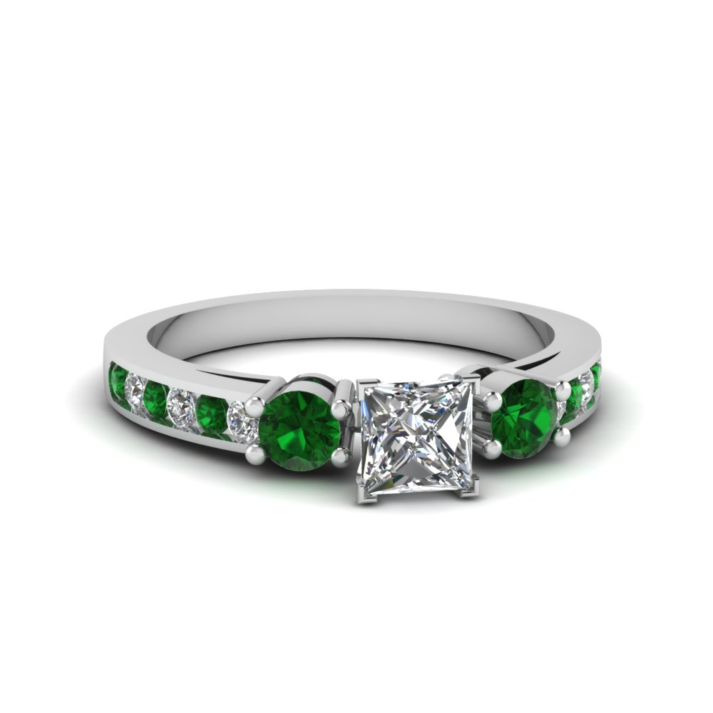 Emerald Side Stone Anniversary Rings