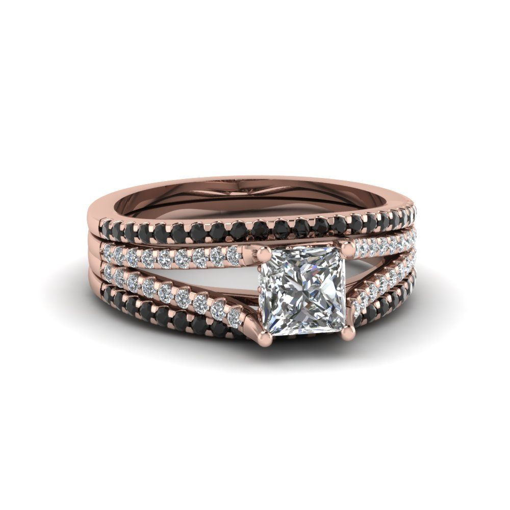 princess cut trio bridal sets for women with black diamond in 18K rose gold  FDENS1759TPRGBLACK NL 0335f0438