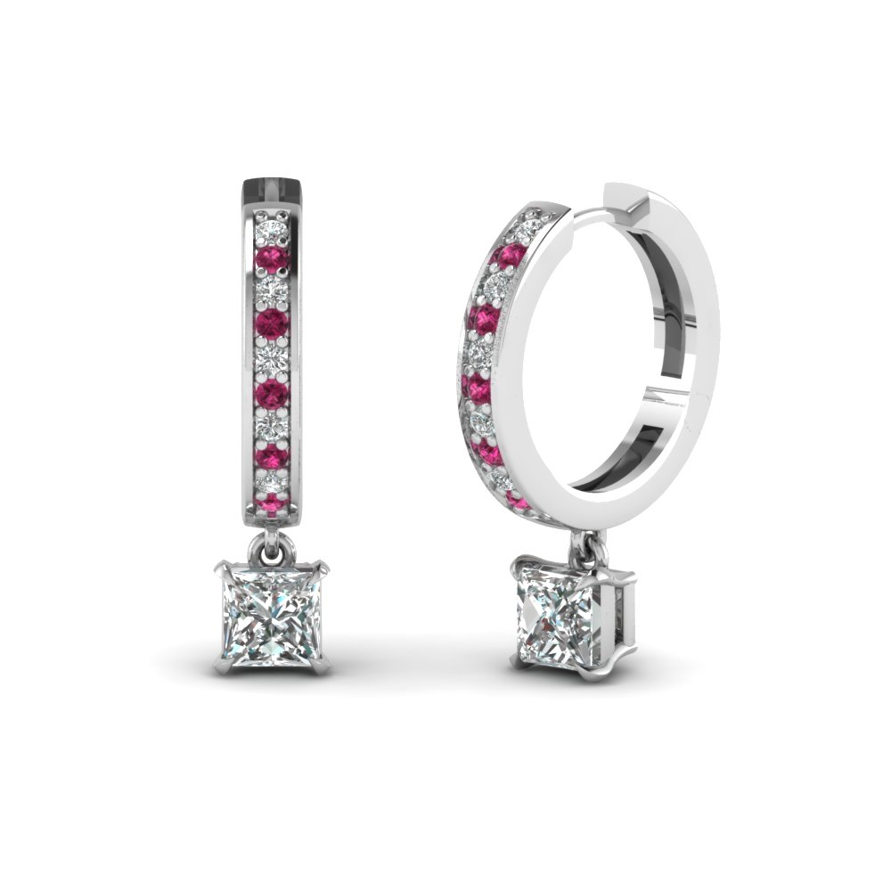 Princess Cut & Pink Sapphire Hoop Earrings