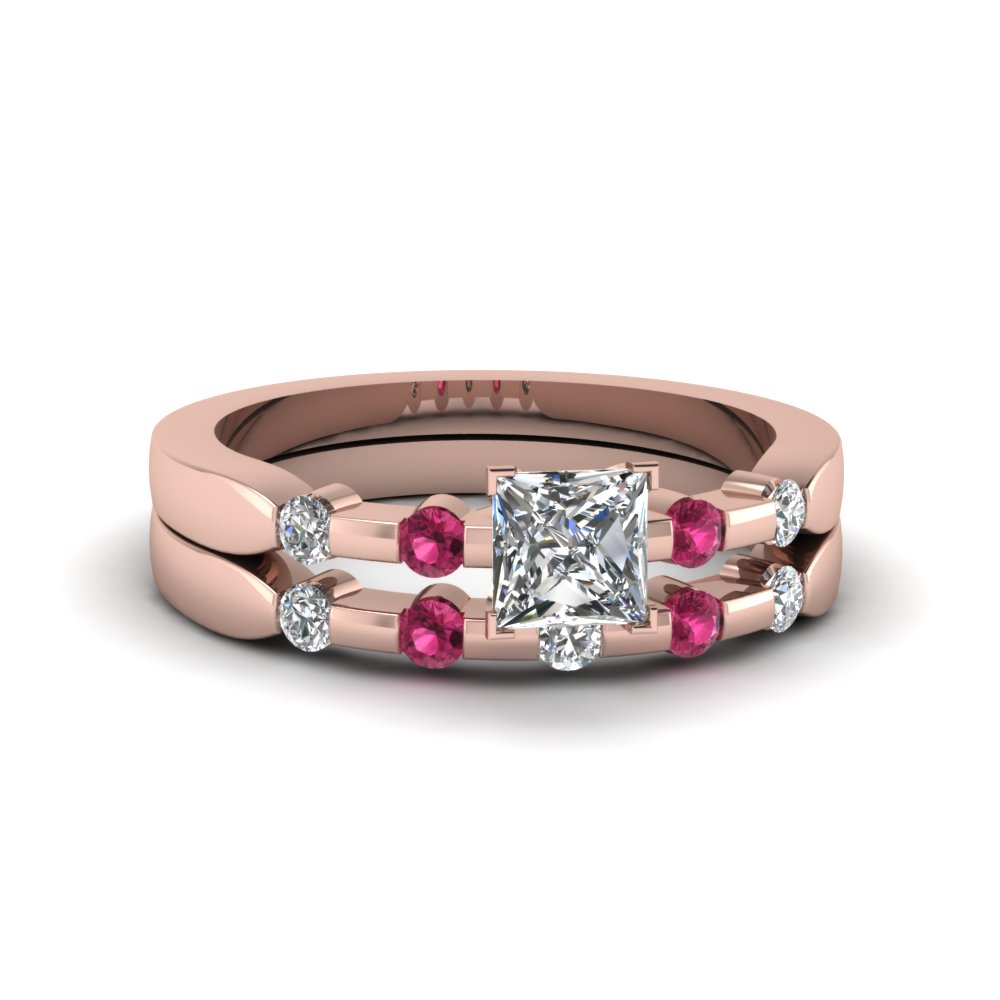 princess cut delicate diamond wedding ring set with pink sapphire in FDENS3063PRGSADRPI NL RG