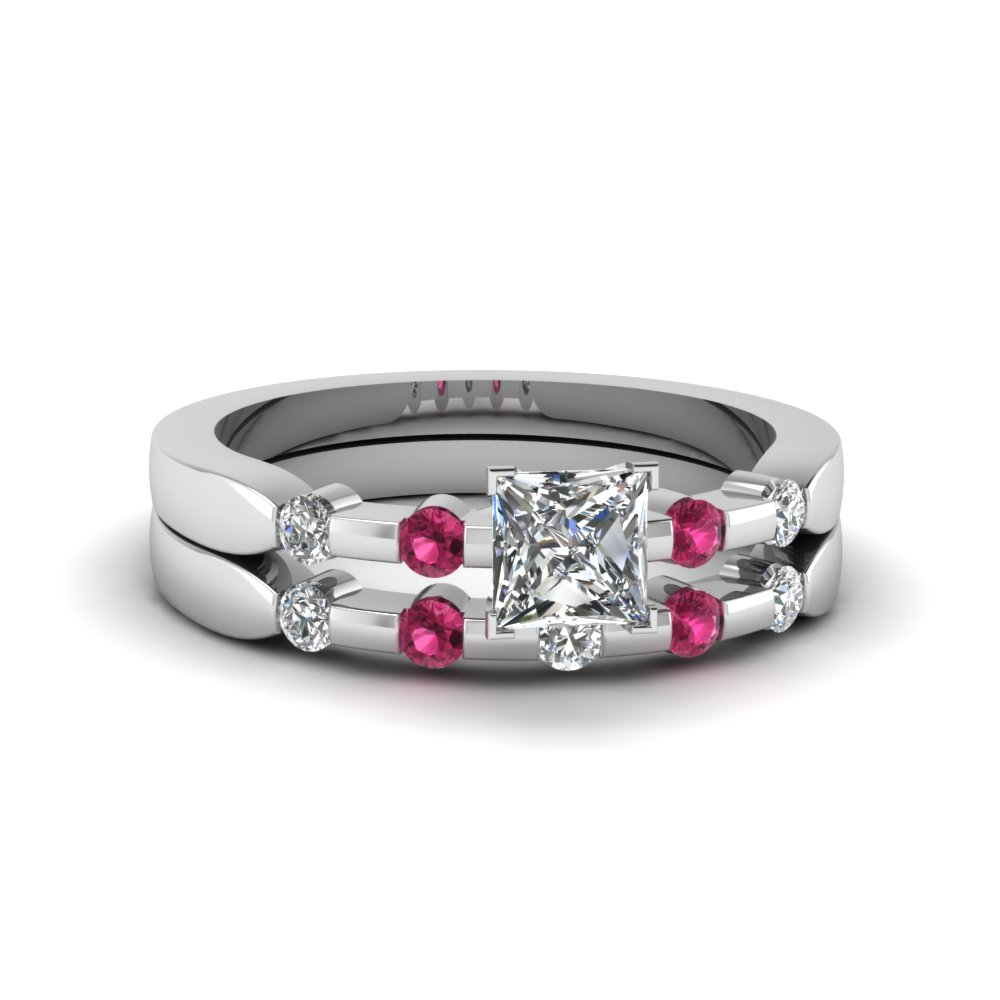 Princess cut delicate diamond wedding ring set with pink for Princess cut pink diamond wedding rings