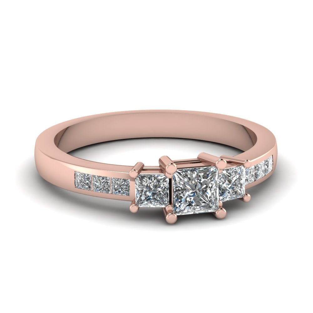princess cut diamond 3 stone accents channel set engagement ring in 14K rose gold FD1135PRR NL RG
