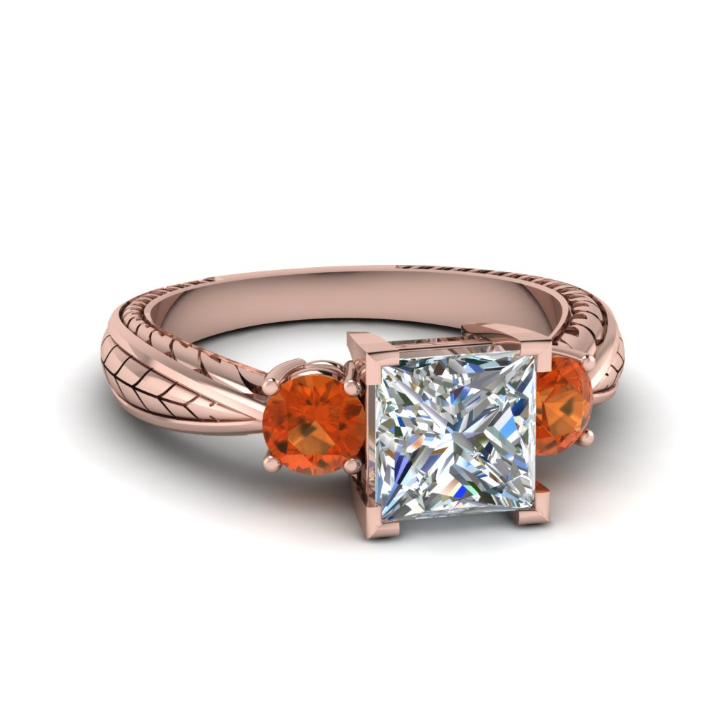Orange Sapphire Three Stone Ring