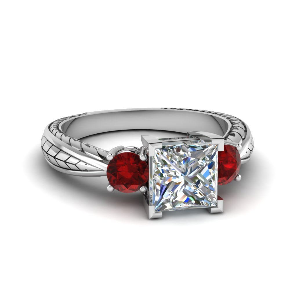 Platinum Ruby Past Present Future Ring