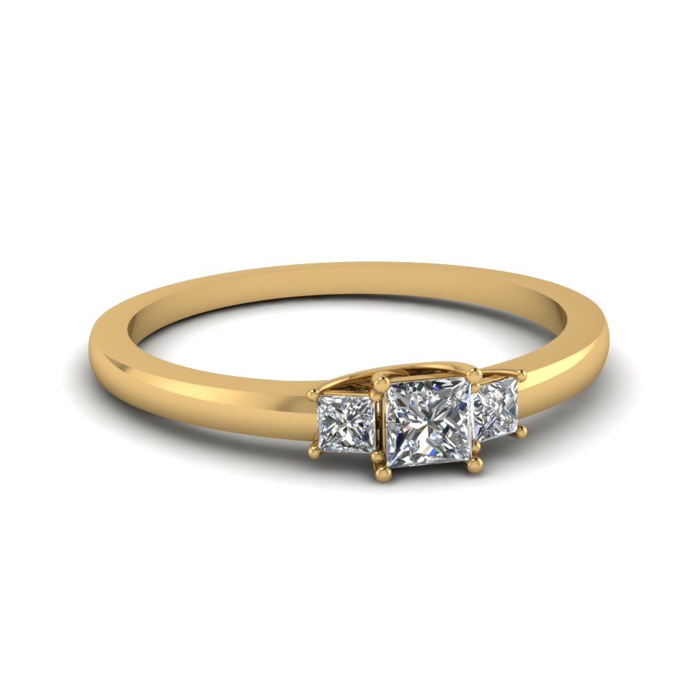 Petite 14k Yellow Gold 3 Stone Engagement Rings