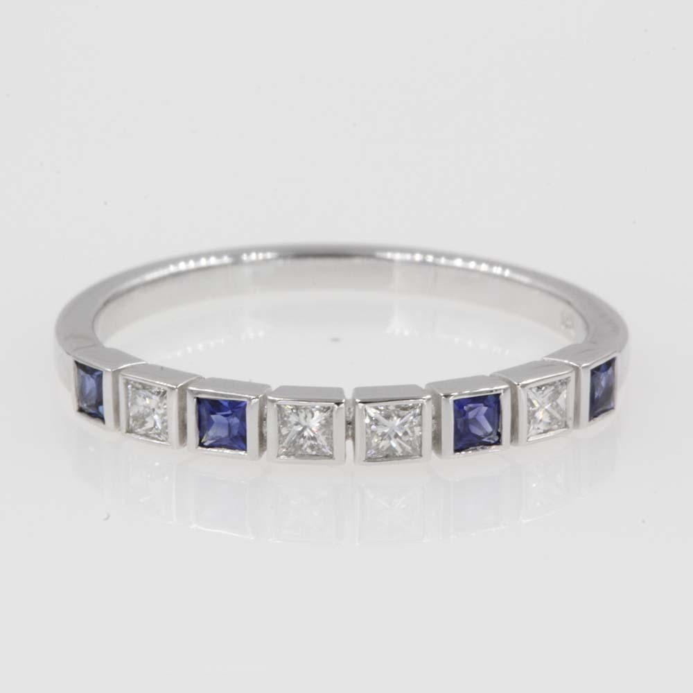 princess cut diamond anniversary band with sapphire in 14K white gold FD62276BGSABL