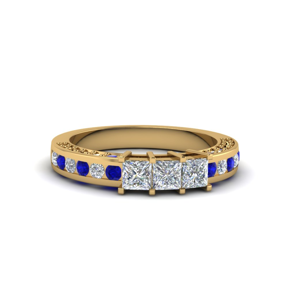 princess cut diamond wedding band for her with sapphire in 14K yellow gold FDENS1096BGSABL NL YG