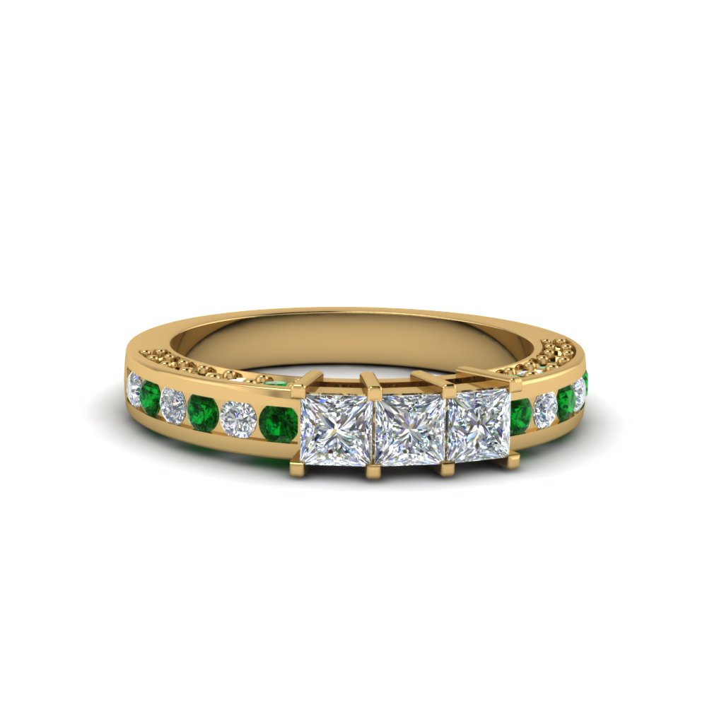 princess cut diamond band for her with emerald in FDENS1096BGEMGR NL YG