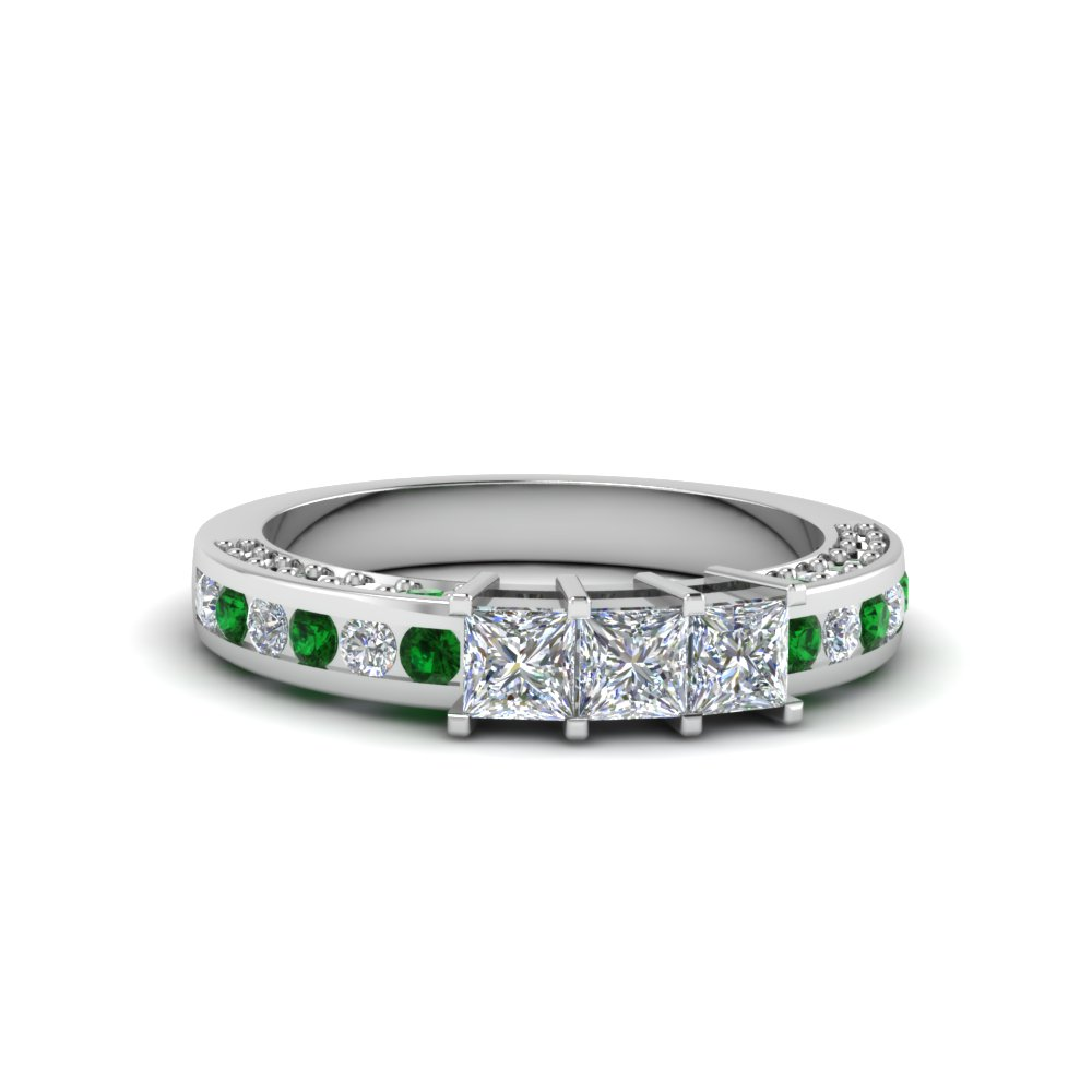 Delicate Emerald Channel Set Band