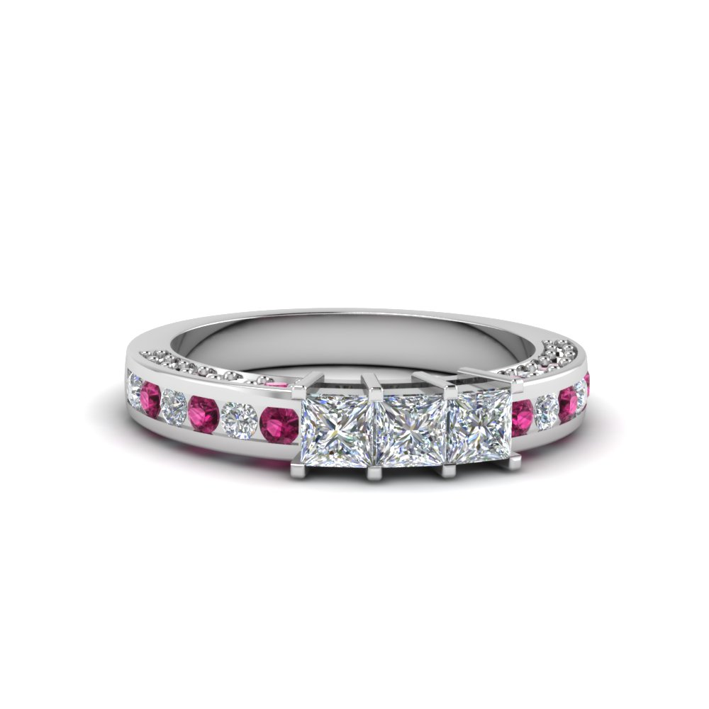princess cut diamond wedding band for her with pink sapphire in 950 platinum FDENS1096BGSADRPI NL WG