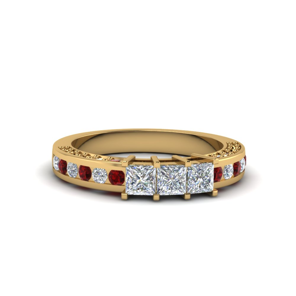 princess cut diamond wedding band for her with ruby in 14K yellow gold FDENS1096BGRUDR NL YG