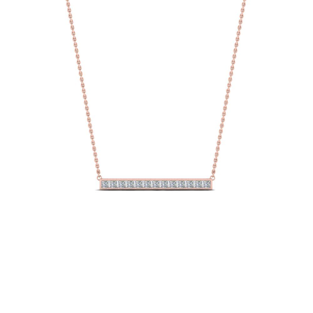 Princess cut diamond bar necklace pendant in 14k rose gold princess cut diamond bar necklace pendant in 14k rose gold fdpd8091 nl rg mozeypictures Images