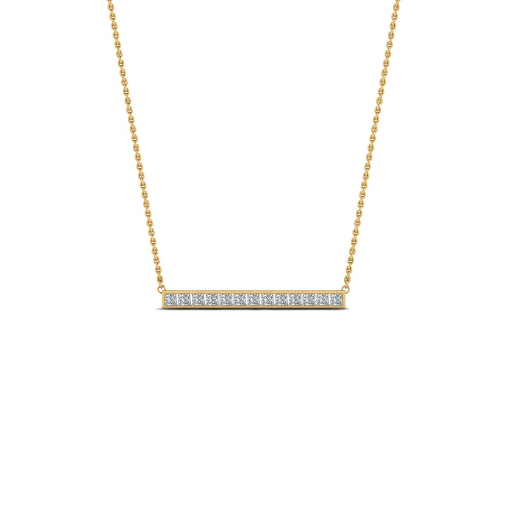 Fancy Diamond Bar Necklace