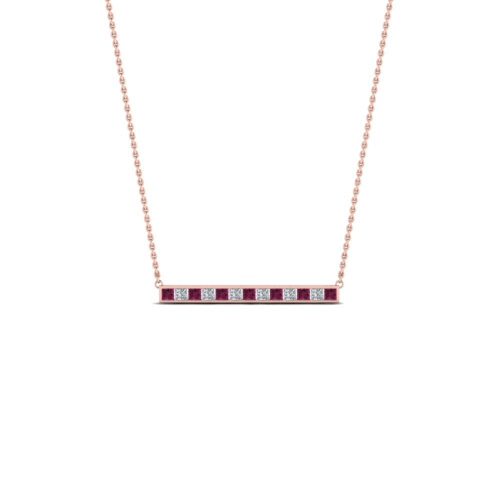princess cut diamond bar necklace pendant with pink sapphire in FDPD8091GSADRPI NL RG