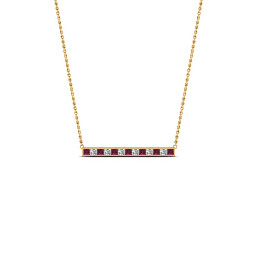Princess Cut Pink Sapphire Bar Necklace