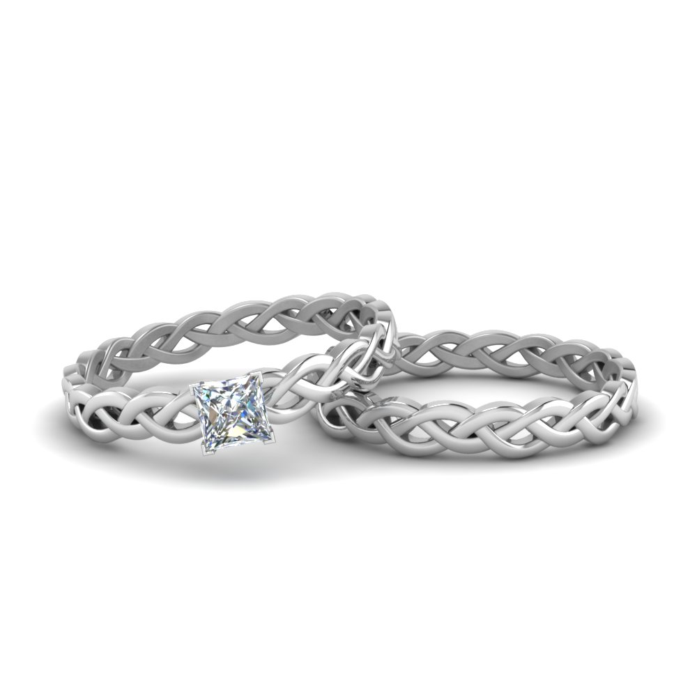 Braided Solitaire Engagement Bridal Set