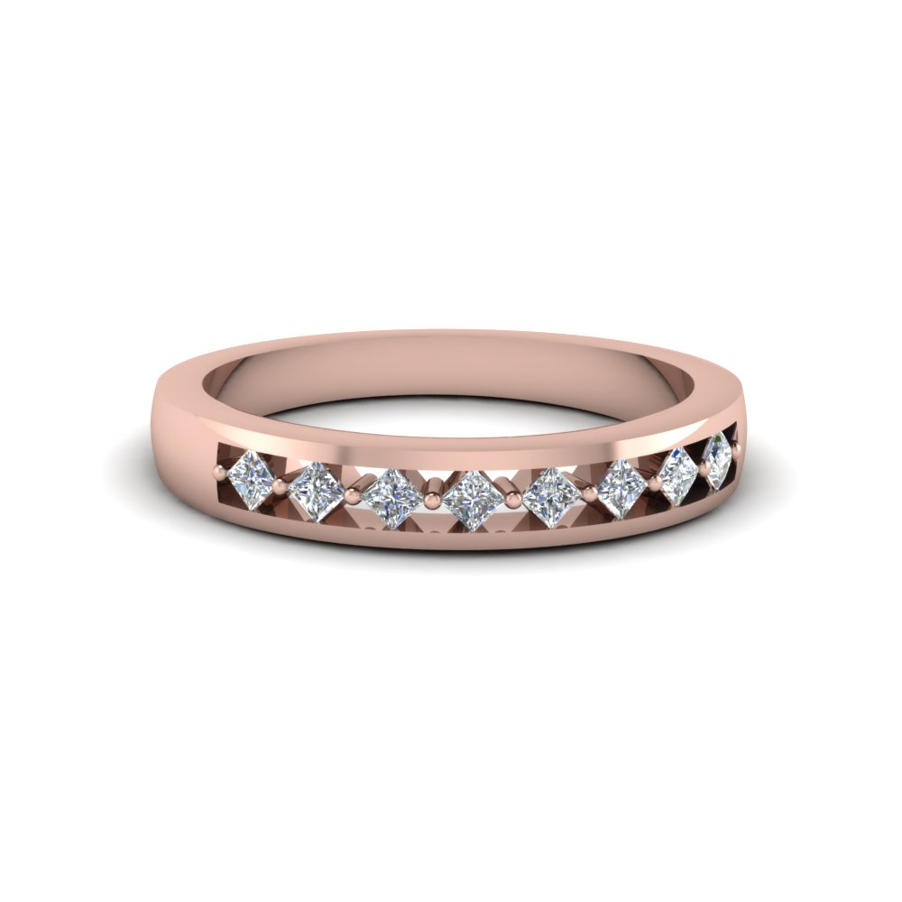 Princess Diamond Pink Gold Wedding Band