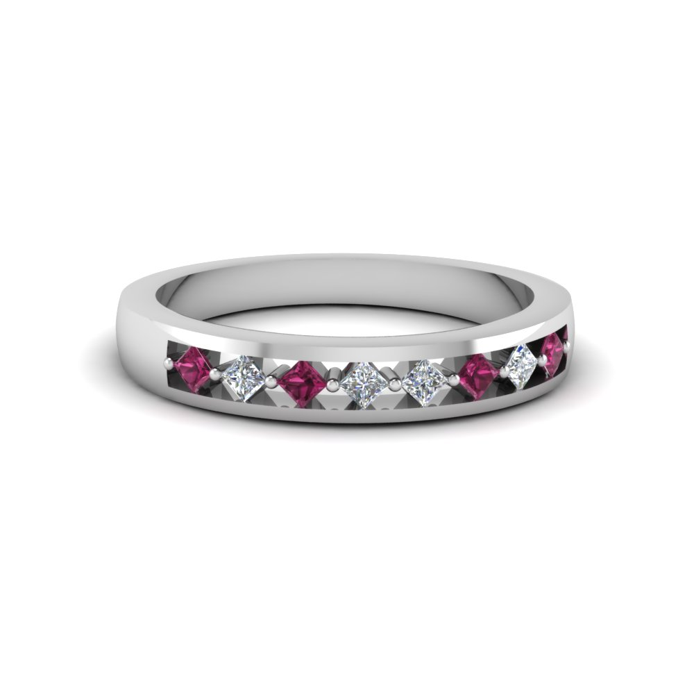 princess cut diamond bridal anniversary band with pink sapphire in FDENS3075BGSADRPI NL WG