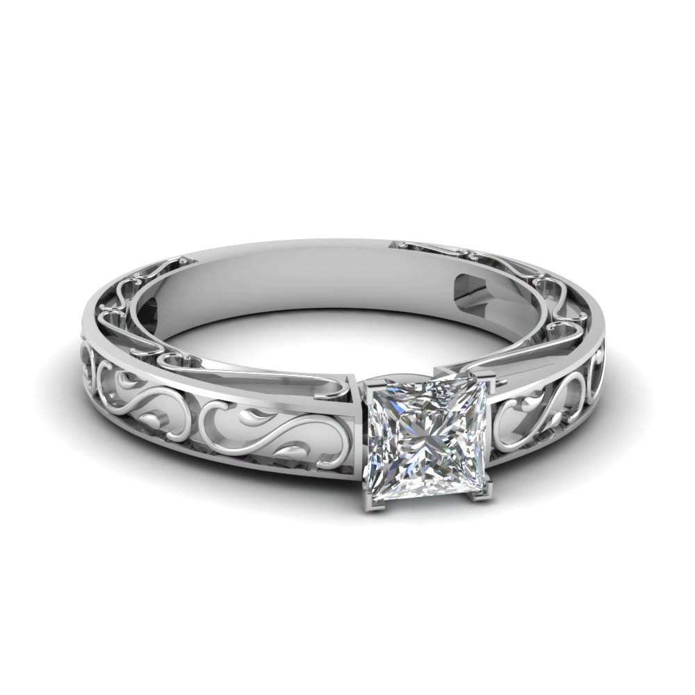 carved princess cut diamond solitaire engagement ring in FDENS3590PRR NL WG