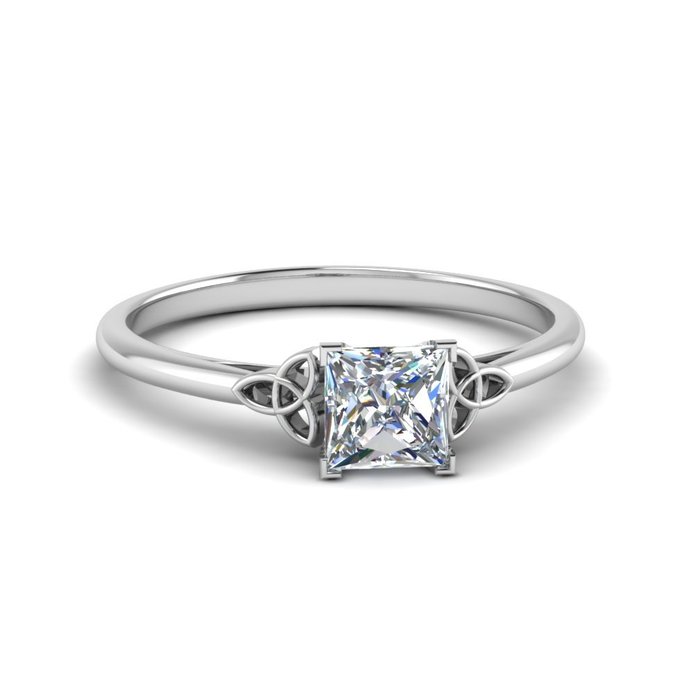 celtic princess cut solitaire engagement ring in FD8541PRR NL WG