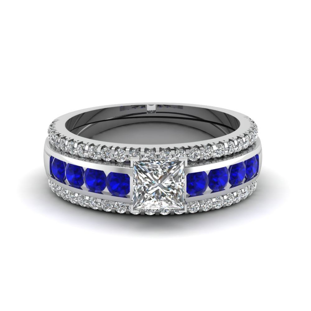 princess cut diamond bridal trio set with sapphire in fd8026tprgsablangle1 nl wg - Blue Wedding Ring Set