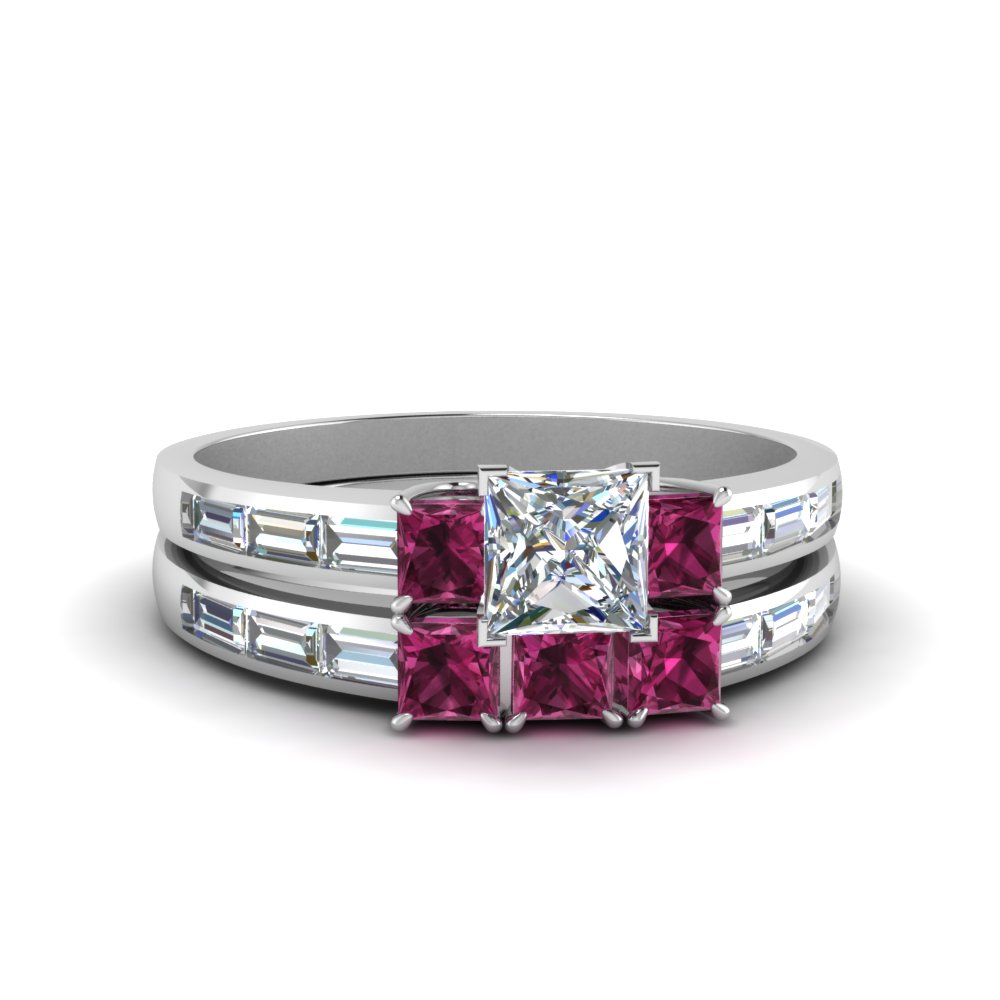 princess cut channel baguette 3 stone diamond wedding set with pink sapphire in 14K white gold FDENS1021PRGSADRPI NL WG