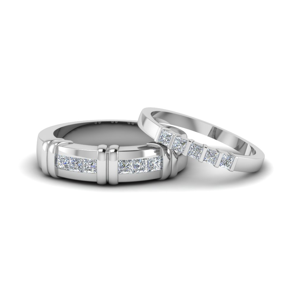 14K White Gold Channel Bar Set Band