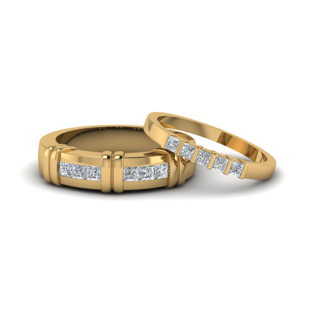 princess cut diamond channel bar set anniversary matching ring for couples in 14K yellow gold FD8166B NL YG