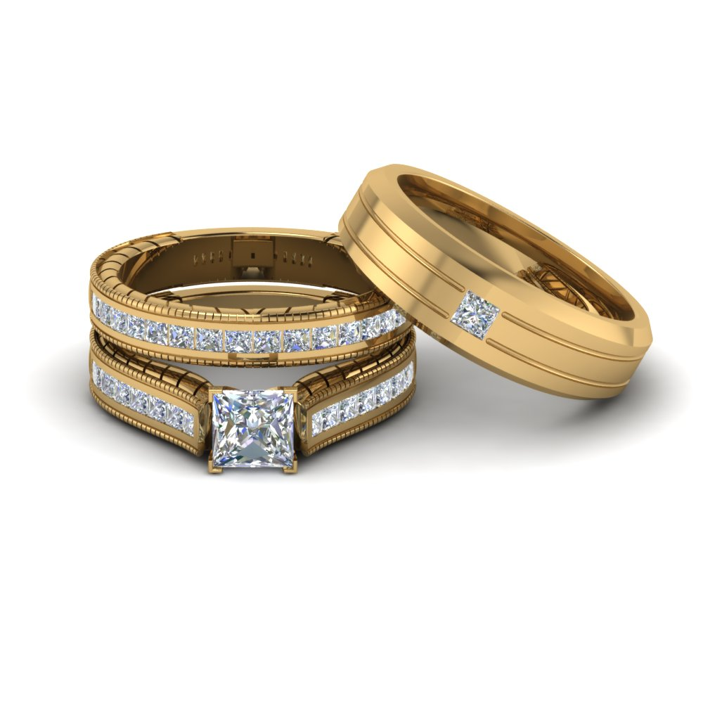 princess cut diamond trio wedding ring sets with white diamond in 14k yellow gold - Wedding Ring Trio Sets