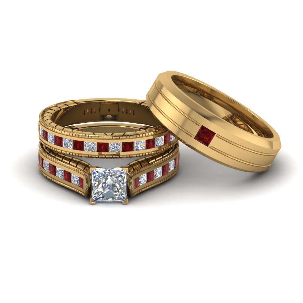 buy our ruby trio wedding ring sets at affordable price - Affordable Wedding Ring Sets