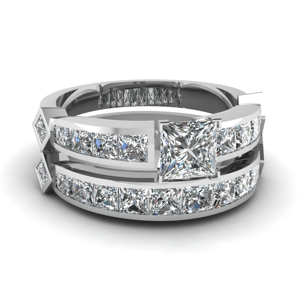 Princess Cut Diamond Channel Set Princess Accent Wedding Ring Sets