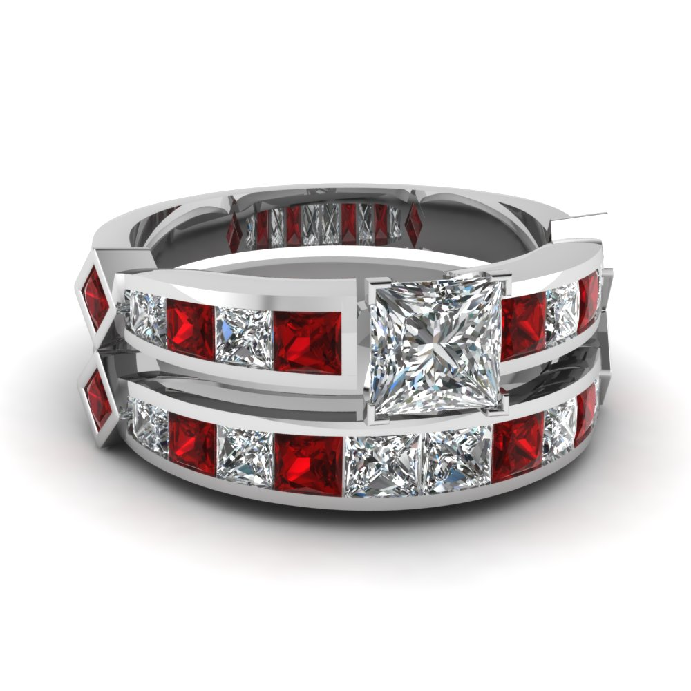 Princess Cut Diamond Channel Set Princess Accent Wedding Ring Sets With Ruby In 14K White Gold