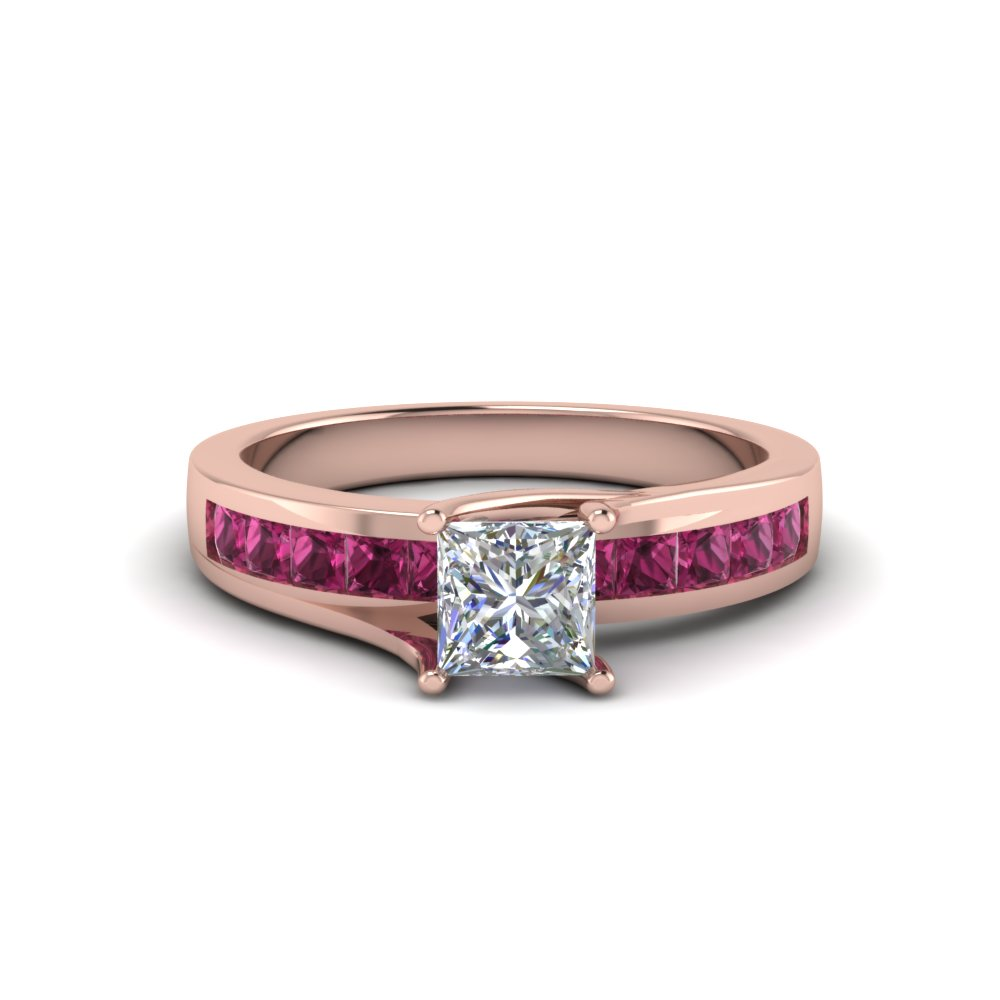 princess cut diamond channel set princess engagement ring with pink sapphire in FDENR7776PRRGSADRPI NL RG GS
