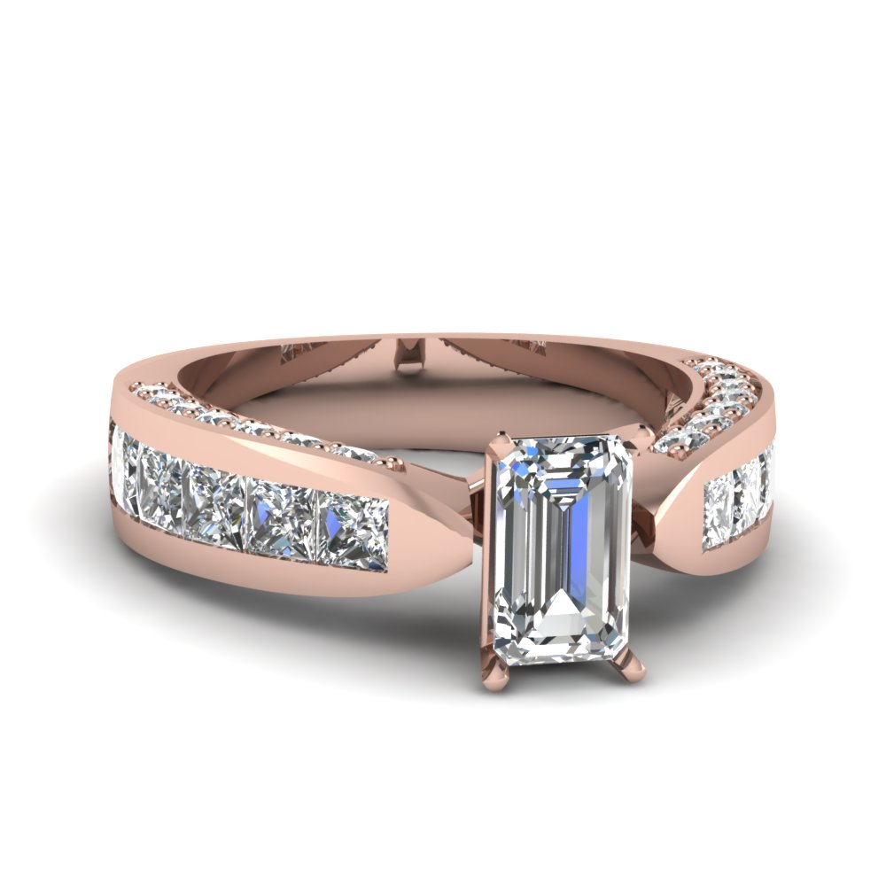 Princess Cut Channel Set Shank Ring