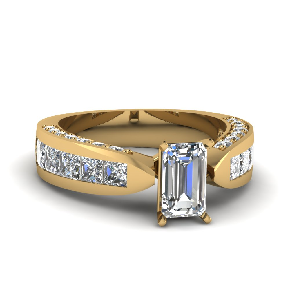 princess cut diamond channel set shank wedding ring for women in 18K yellow gold FDENS304EMR NL YG