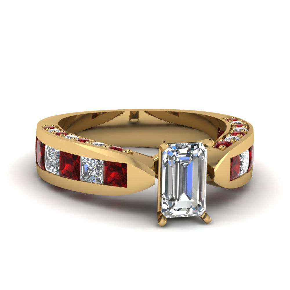 princess cut diamond channel set shank wedding ring for women with ruby in 18K yellow gold FDENS304EMRGRUDR NL YG