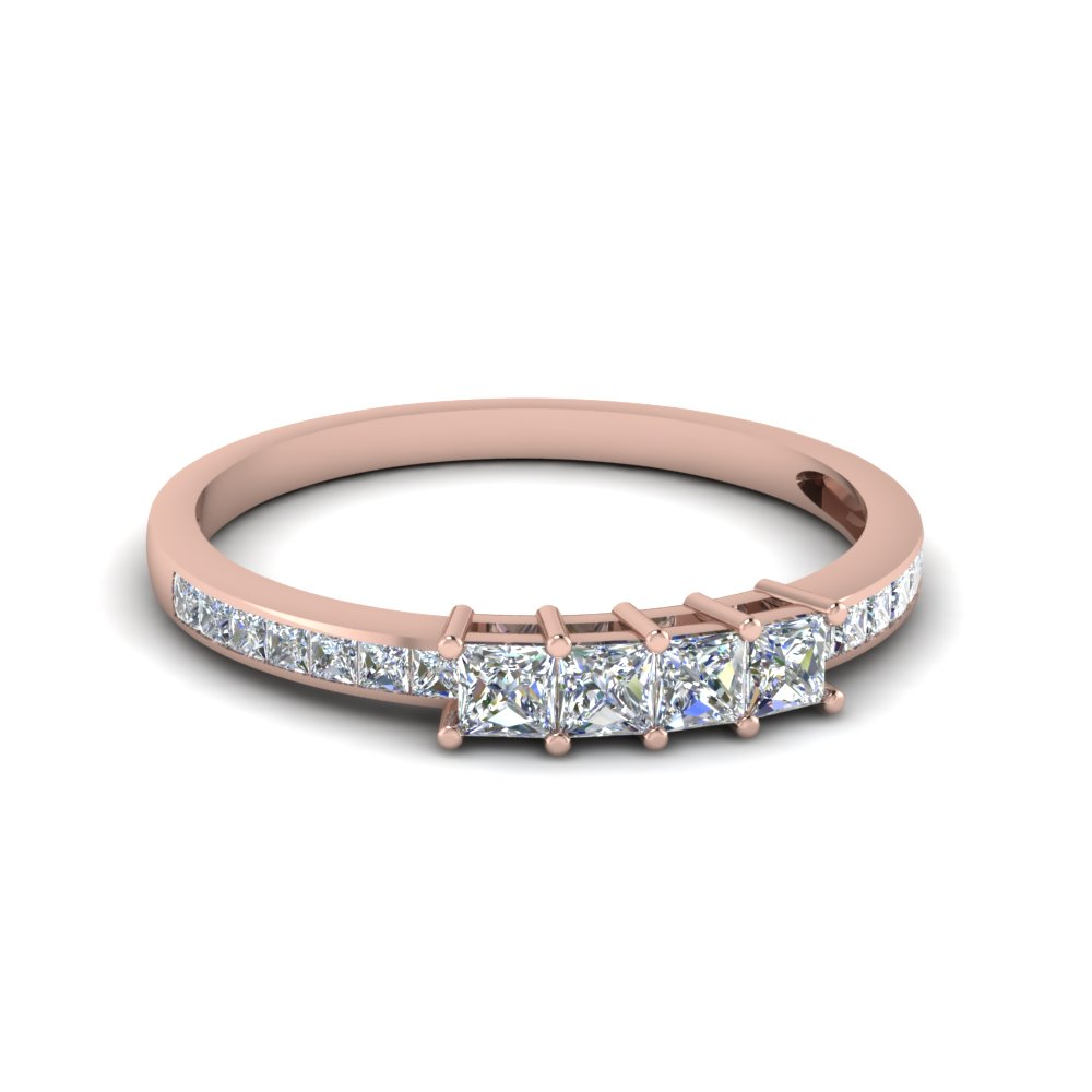 princess cut diamond channel set wedding anniversary band in 14K rose gold FDENS3022B NL RG 30