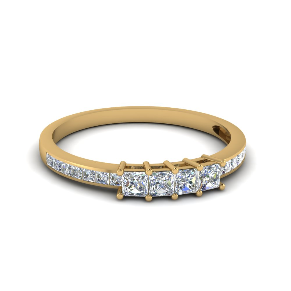 Princess Cut Diamond Channel Set Wedding Anniversary Band In 18k Yellow Gold Fdens3022b Nl Yg 30
