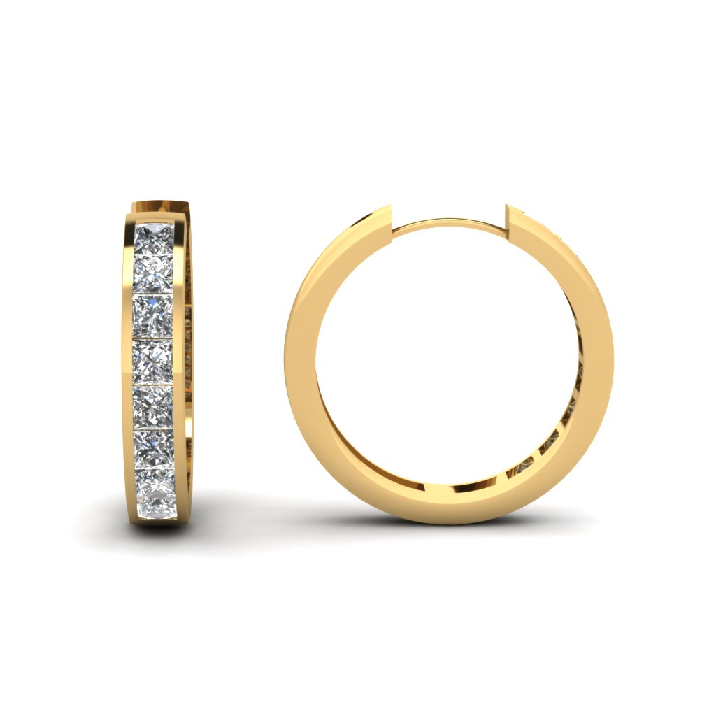 Large Diamond Hoop Earrings Yellow Gold