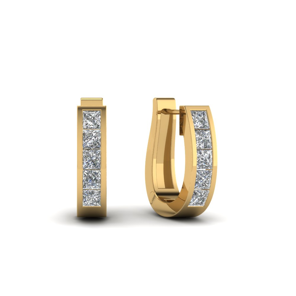 Huggie Diamond Hoop Earring In Fdear1018 Yg