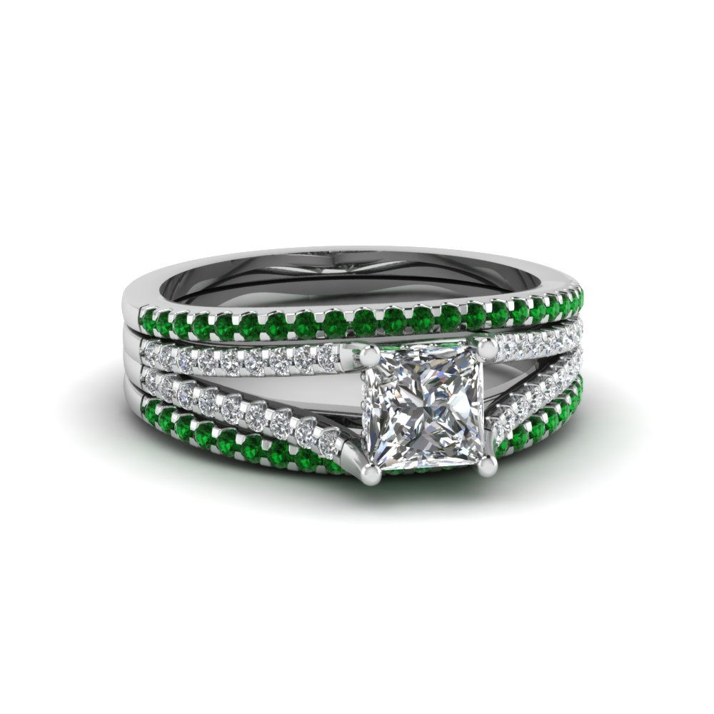 unique princess cut diamond and gemstone matching wedding band in white god - Unique Wedding Rings For Women