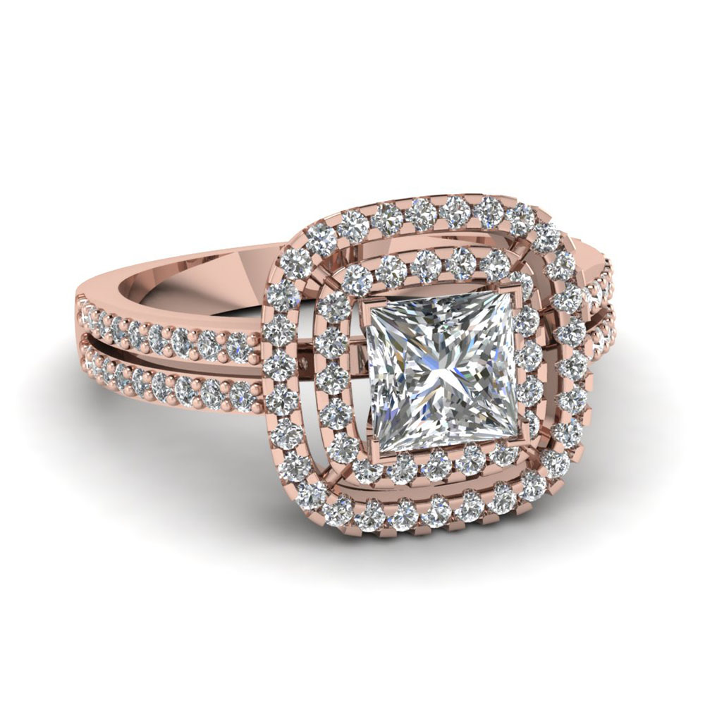 Rose gold princess cut engagement rings