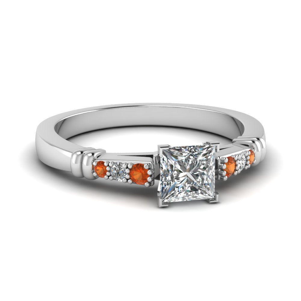 pave bar set princess cut diamond engagement ring with orange sapphire in FDENS363PRRGSAOR NL WG
