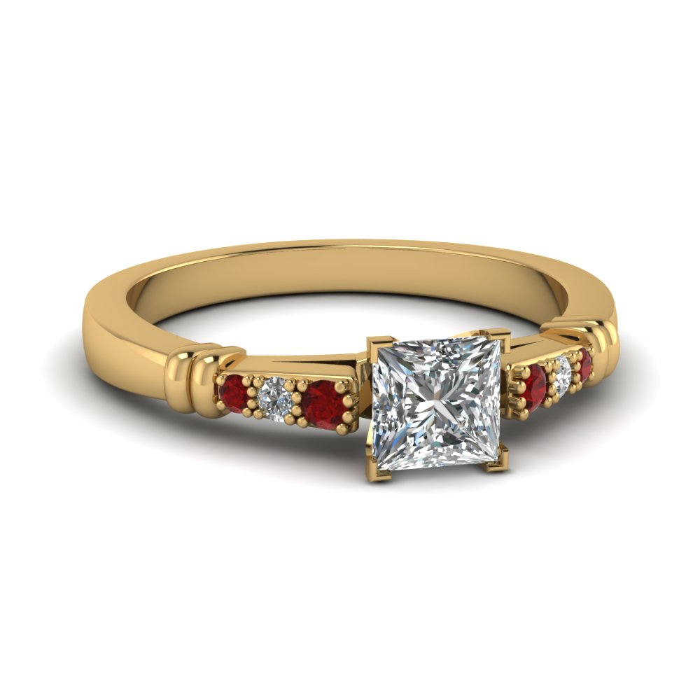 pave bar set princess cut diamond engagement ring with ruby in FDENS363PRRGRUDR NL YG