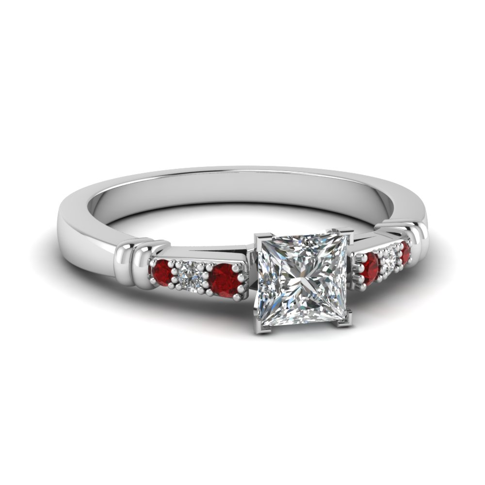 pave bar set princess cut diamond engagement ring with ruby in FDENS363PRRGRUDR NL WG