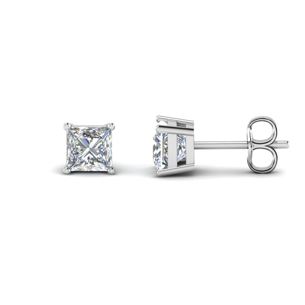 50c8862c0 Princess Cut Diamond Earring 3 Carat Stud Earrings with White Diamond in  950 Platinum
