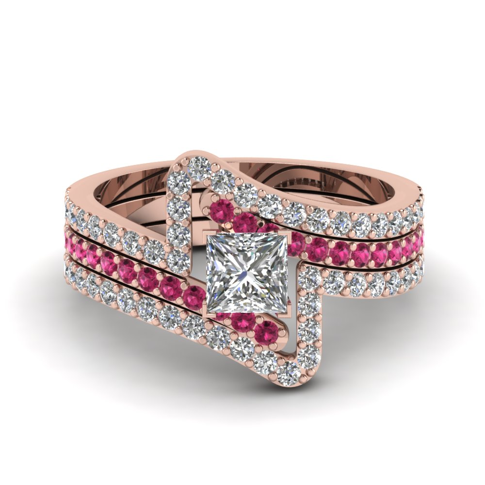 Buy our princess trio wedding ring sets fascinating diamonds for Princess cut pink diamond wedding rings