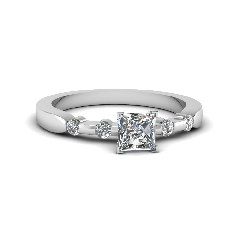 bezel set princess cut diamond engagement ring on sale in 14K white gold FDENS3063PRR NL WG