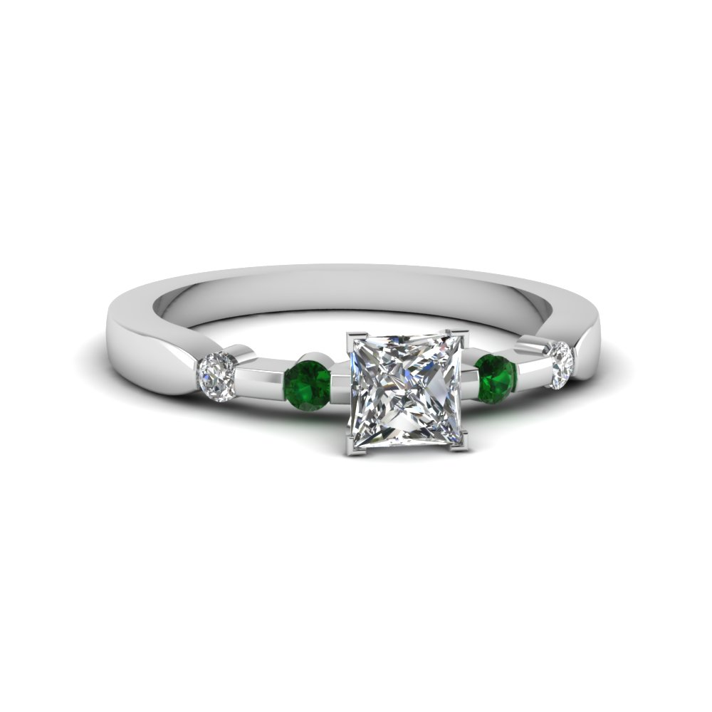 bezel set princess cut diamond engagement ring on sale with emerald in 14K white gold FDENS3063PRRGEMGR NL WG