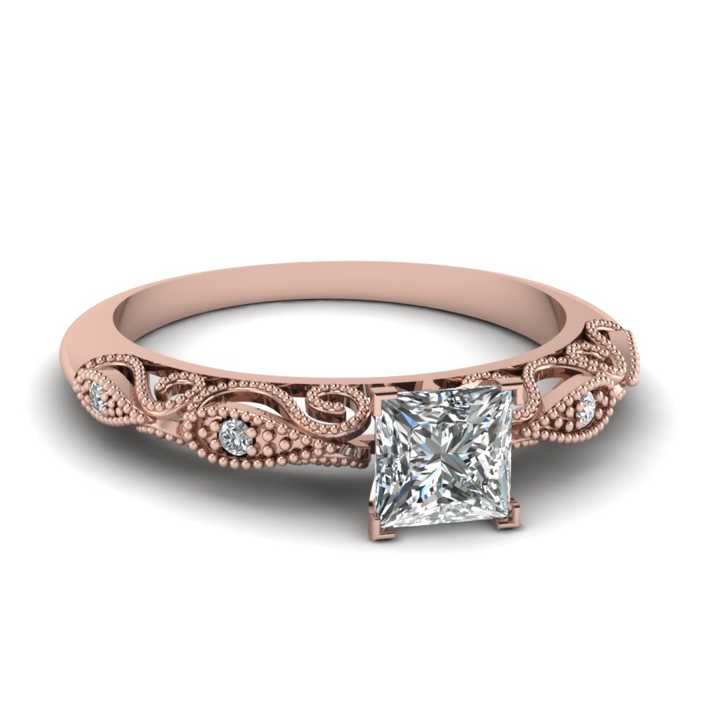 Princess Cut Diamond Milgrain Engagement Rings With White Diamond In 14k Rose  Gold